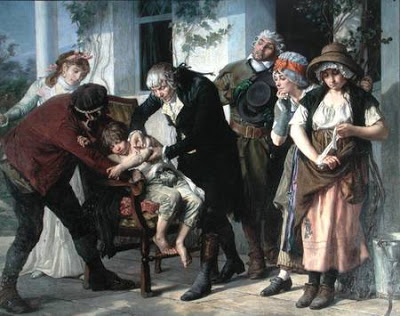 CHT199739 Edward Jenner (1749-1823) performing the first vaccination against Smallpox in 1796, 1879 (oil on canvas) (detail) (see also 166614) by Melingue, Gaston (1840-1914) oil on canvas Academie Nationale de Medecine, Paris, France Archives Charmet French, out of copyright